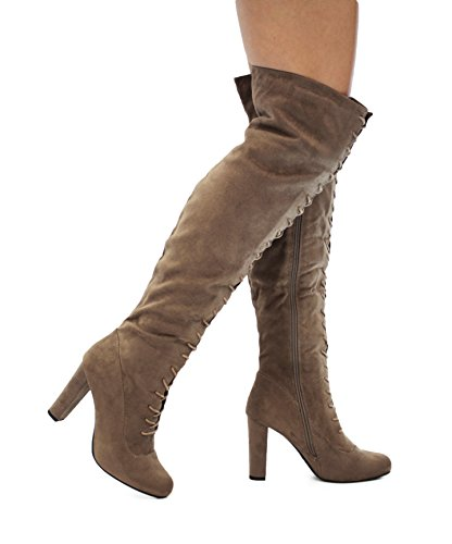 MVE Shoes Women Fashion Comfy Vegan Suede Block Heel Slip on Thigh High Over The Knee Boots Taupe Imsu
