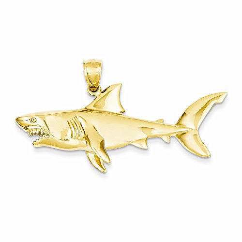 14k Yellow Gold Polished 3-Dimensional Shark Pendant by Nina's Jewelry Box