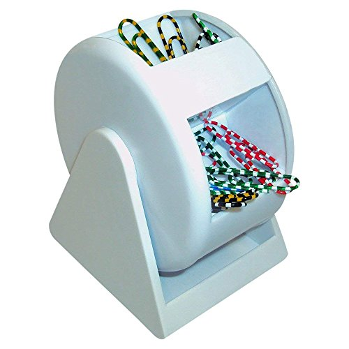 - Paper Clip Dispenser - White Plastic Ferris Wheel, 5 Compartments with Colorful Clips, Cheap office Supply, Fun Back To School Paper Clip Holder With Zebra Paper Clips.