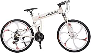 Hummer Mountain Bikes 26 inch 24 Speeds Suspension Folding Bicycles,aluminum frame,Front suspension can be locked,Equipped With Shimano Gears,Disc Brake,seat adjustable.