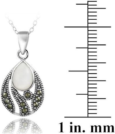 argent sterldansg perle de nacre /& Marcasite pendentif en forme de larme