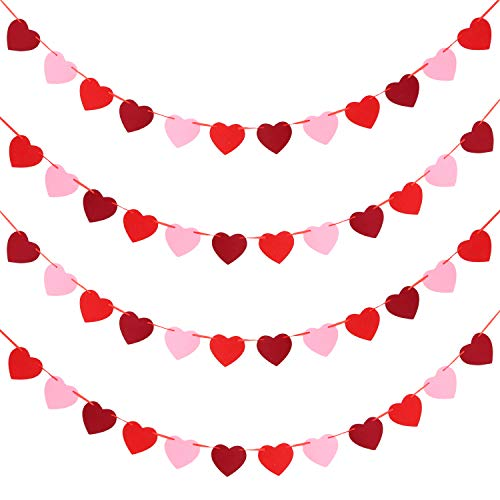 Tatuo 4 Sets Valentines Day Heart Banners Felt Heart Garlands Holiday Hanging Decorations for Wedding Party Birthday Supplies (Color Set 2)