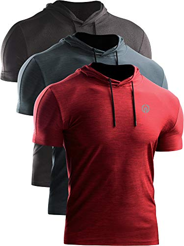 Neleus Men's 3 Pack Dry Fit Running Shirt Workout Athletic Shirt with Hoods,Grey Black,Slate Gray,Red,US XL,EU 2XL