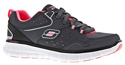Skechers SK12013 de cuero de mujer Synergy Front Row zapatillas de bota de fútbol de los deportes de para mujer Multicolor - gris/negro