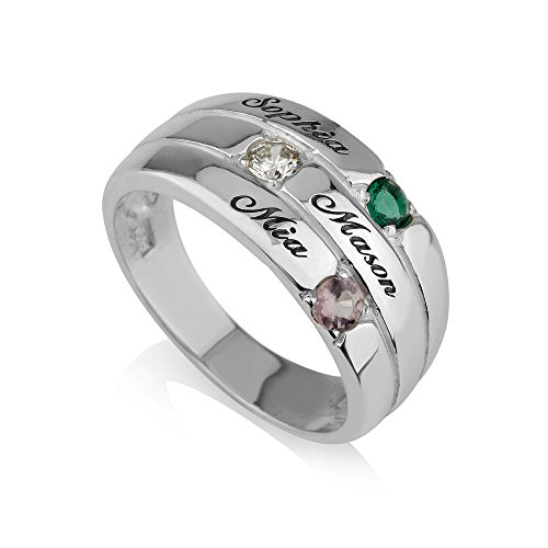 Mothers Ring Engraved Birthstone Ring 3 Stones Ring -925 Sterling Silver - Personalized & Custom Made (8.5) Custom Made Silver Ring