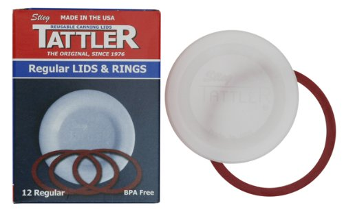 Tattler Reusable Regular Mouth Canning Lids and Rubber Rings, 12-Pack