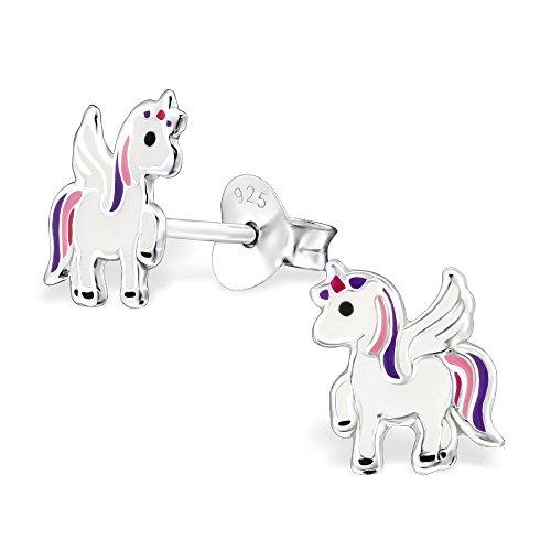 925 Sterling Silver Hypoallergenic White w/ Pink & Purple Unicorn Stud Earrings for Girls 30567
