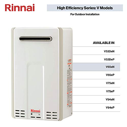 Rinnai V65eN Tankless Hot Water Heater, Large, V65eN-Natural Gas/6.5 GPM (Best High Efficiency Natural Gas Boiler)