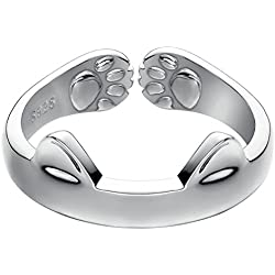 S925 Sterling Silver Cat Ears With Paws Open Tail Ring
