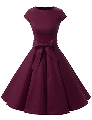 Dressystar DS1956 Women Vintage 1950s Retro Rockabilly Prom Dresses Cap-Sleeve M Burgundy -