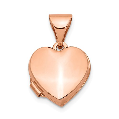 14k Rose Gold 10mm Heart Photo Pendant Charm Locket Chain Necklace That Holds Pictures Fine Jewelry For Women Gift Set