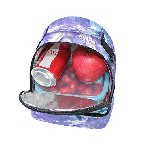 almuerzo Bolso pícnic ajustable morado color el doble diseño para de de para con hombro unicornio correa RRxqUB5w
