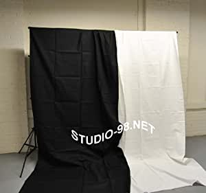 STUDIO-98 PORTRAIT PHOTOGRAPHY LIGHTING: BOTH 10x10 FT BLACK AND WHITE 100 % COTTON BACKDROPS BACKGROUND ---FREE SHIPPING IN CANADA