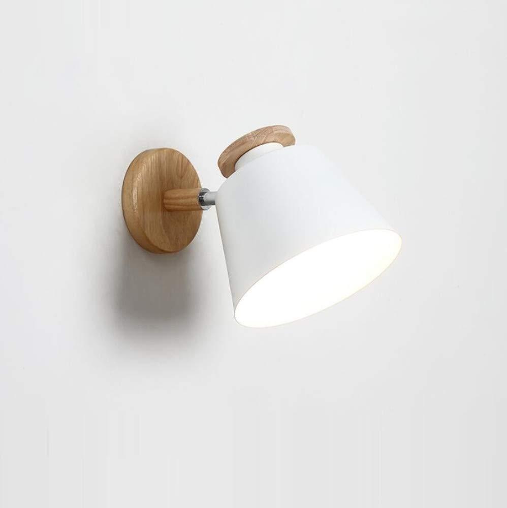 Wandleuchte Nordic Minimalistische weiße Tv Wandlampe Schlafzimmer Nacht Massivholz Wandleuchte Moderne Holz Wohnzimmer Lampe Gang Lichter