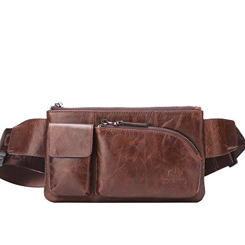 Denim Leather Satchel (BISON DENIM Retro Genuine Leather Satchel Sling Bag Classic Single Shoulder Cross Body Waist Bag Fanny pack for Travel Hiking Brown)
