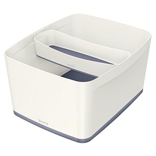 A4 Blanco//Azul metalizado Leitz MyBox Grande con tapa Caja de almacenaje para casa o la oficina 18 litros 52161036 Pl/ástico brillante