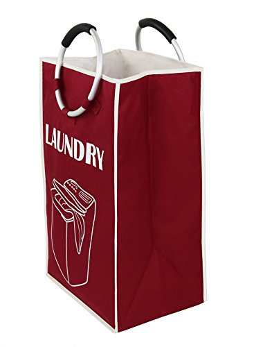 Essentials by Yoshi Foldable Laundry Bag with Alloy Handles, Heavy Duty, Easy to Carry, for Home, College Dorm or Travel.(Red) by Essentials by Yoshi (Image #1)