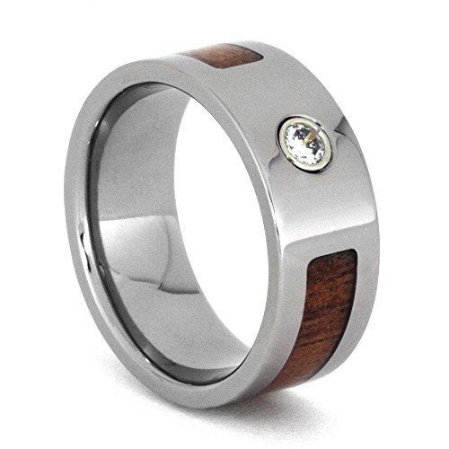 Bezel Set Diamond, Koa Wood 8mm Comfort-Fit Titanium Wedding Band, Size 9.5 by The Men's Jewelry Store (Unisex Jewelry)