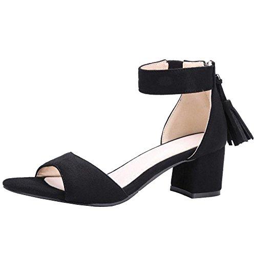 Fete Black Sandales Ouvert Bout RAZAMAZA Femmes Simple Y0wxn1qpS
