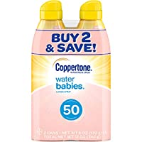 Coppertone WaterBabies Sunscreen Quick Cover Loción Spray de amplio espectro SPF 50 (6 onzas por botella, paquete de 2) (el empaque puede variar)