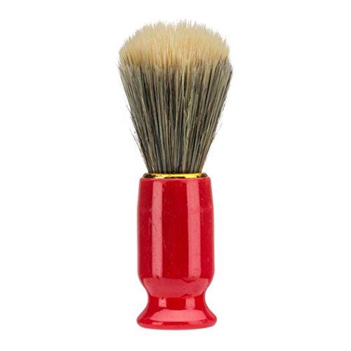 SMTSMT Men Hair Shaving Brush Nylon Hair Shaver Wooden Handle Brush Razor Barber Tools Double Edge Razor Badger Shaving Brush for Men (Red)