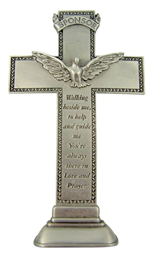 Confirmation Cross Pewter Standing with Holy Spirit Dove for Sponsor, 5 1/2 Inch