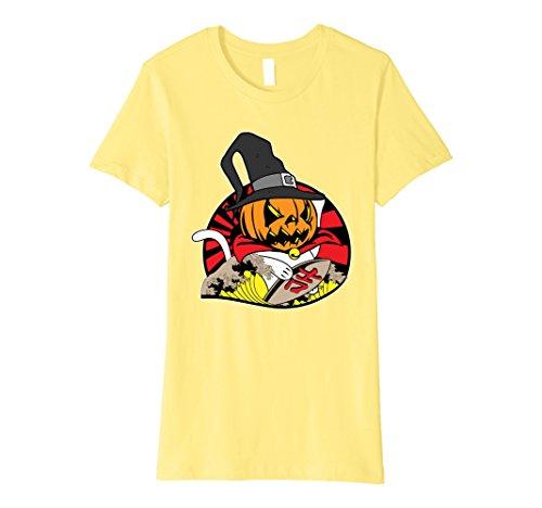 Womens Funny Cute Japanese Pumpkin Beckoning Cat Maneki-neko Shirt Medium (Maneki Neko Halloween Costume)