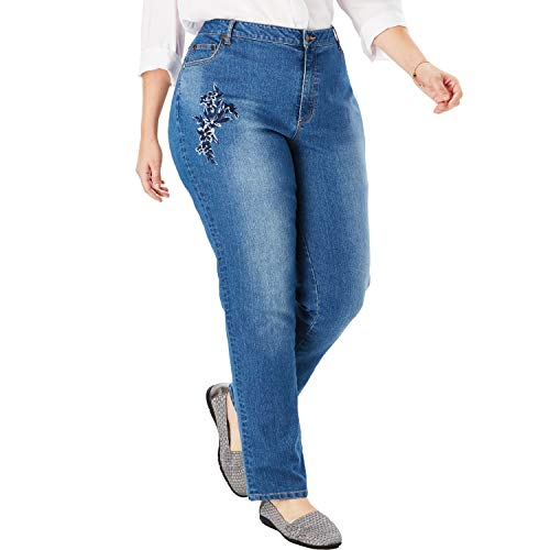 Woman Within Women's Plus Size Straight Leg Stretch Jean - Floral Tonal Embroidery, 28 W