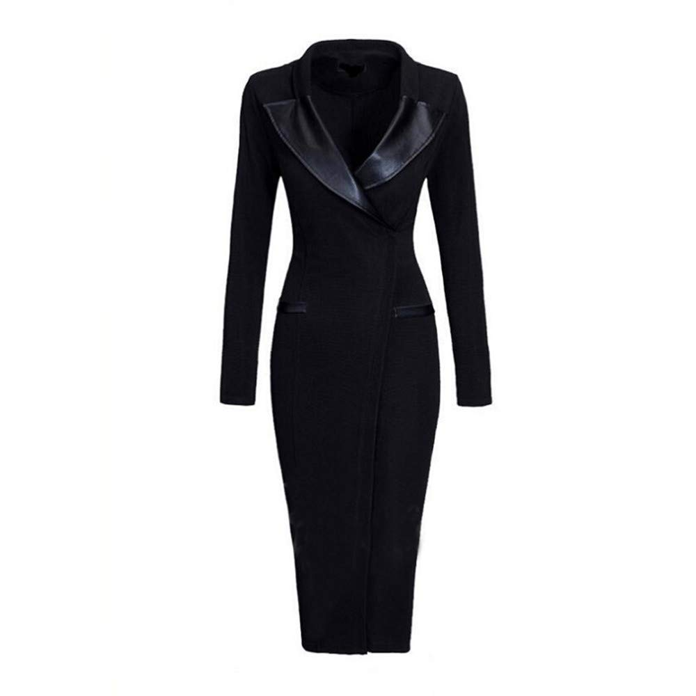 Dress Joggers for Women,Women Autumn Fashion Long Sleeve Solid Patchwork Slim Sheath Dress,Tops & Tees,Black,L