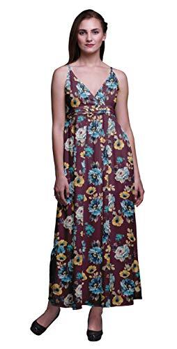Bimba Floral Women Printed Long Chic Dress Bohemian Summer Maxi Beach Wear-XX-Large