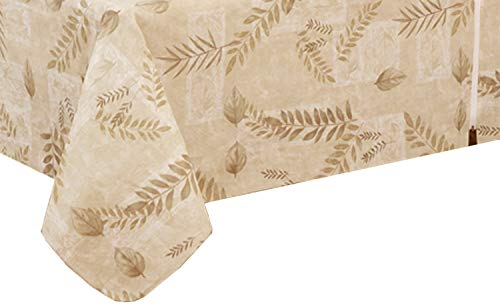 EVERYDAY LUXURIES Boxed Fern Flannel Backed Vinyl Tablecloth Indoor Outdoor, 70-Inch Round with Umbrella Hole and Zipper, Taupe