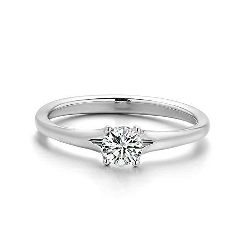 Beydodo 18K Gold Ring Women 4-Prong Setting Round Diamond Ring Size 10 SI F-G 0.5ct Rings Band Wedding