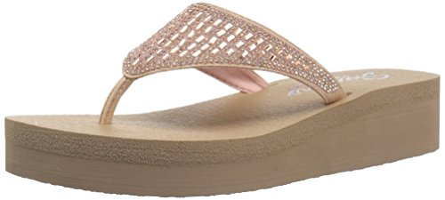 Skechers Cali Women's Vinyasa-Tiger Squad Flip-Flop,rose gold,10 M US ()