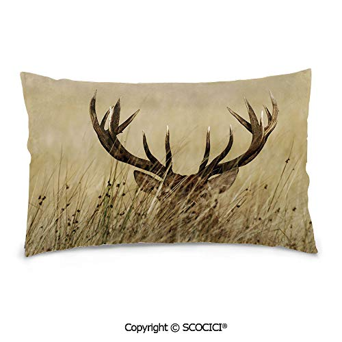 "SCOCICI Durable Soft Cotton Rectangle Pillow Covers,16""x24"",Whitetail Deer Fawn in Wilderness Stag Countryside Rural Hunting Theme,Print Zippered Throw Pillow Covers Cover"