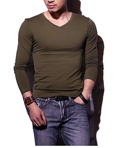 Men's Tagless Slim Fit Top Muscle Cotton V-Neck Long Sleeve Undershirts T-Shirts, L, -