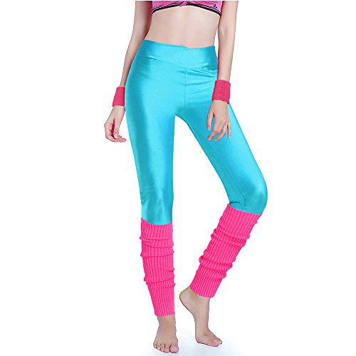 Neon 80s Workout Leggings and Leg Warmers Set - many colors