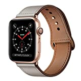 KYISGOS Compatible with iWatch Band 38mm 40mm, Genuine Leather Replacement Band Strap Compatible with Apple Watch Series 4 Series 3 Series 2 Series 1 38mm 40mm, Ivory White
