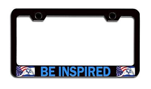 Makoroni - BE INSPIRED Jewish, Israel Bl Steel License Plate Frame, License Tag Holder