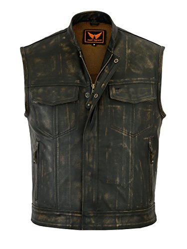 A&H Apparel Mens Genuine Cowhide Distressed Gun pocket Motorcycle Vest Classic Biker Vest (Medium)