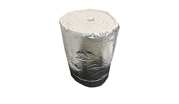 Aislante de fibra cerámica eco + aluminio, rollo de 7,30 m x 61 cm, grosor de 25 mm, densidad de 64 kg/m3: Amazon.es: Bricolaje y herramientas