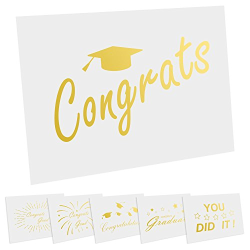 (Cualfec 36 Pack Gold Foil Graduation Cards with Envelopes 4