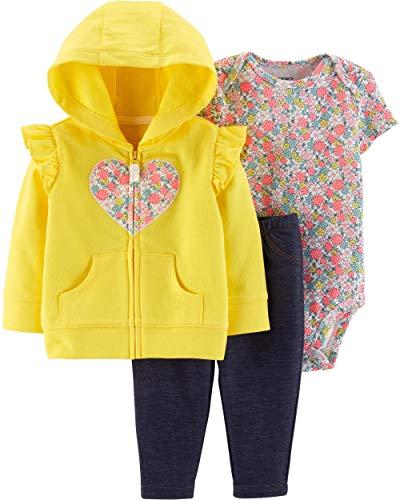 Carter's Baby Girls 3-Piece Little Jacket Set (Newborn, Yellow Floral Heart)