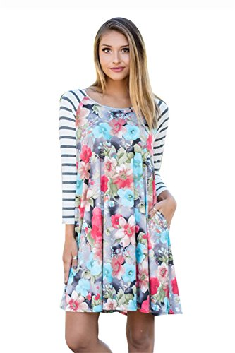 Corala Women Casual Long Sleeve Round Neck Floral Print Loose A-Line T-shirt Dress with Pocket