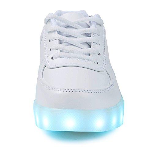 Topteck Kvinna Man Vitt Ljus Upp Skor Låg Topp Ledde Sneakers Klassiska För Att Köra Tennis White