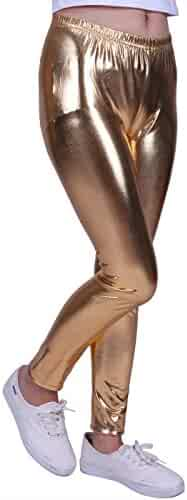 b81c9a58f7c94 HDE Girls Shiny Wet Look Leggings Kids Liquid Metallic Footless Tights  (4T-12)