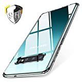 Tamoria Galaxy S10 5G Case Clear Glass Anti-Fingerprint 9H Tempered Glass Back Plate Anti-Scratch Yellowing Resistance TPU Cushion Anti-Shock Reinforced Corner Protective Case for S10 5G
