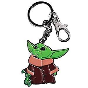 Baby Yoda 2 inch with Frog The Child Character from The Star Wars Disney Television Series The Mandalorian with Double Butterfly Clutch, Multicolor, Keychain