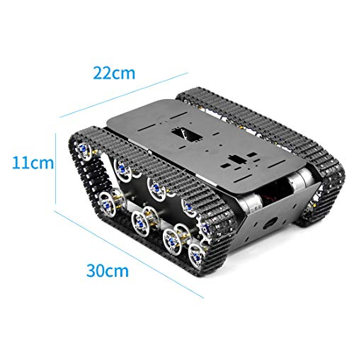 FEICHAO Smart Robot Car Tank Chassis Kit Aluminum Alloy Big Platform with Motors for DIY Remote Control Robot Car Toys