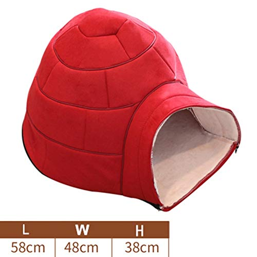 bluee Home taste Pet cat dog autumn winter winter warm yurt sleep nest, warm rest and play cat litter Teddy Poodle pet trash, shape bed cave house warm winter comfortable bed cabin (color   bluee)
