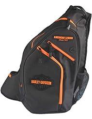 Harley-Davidson Neon Orange Sculpted Bar & Shield Sling Backpack BP2017S-ORGBLK